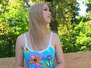 Broke blonde loves my cock in park