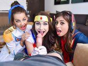 Voyeur blown by three cosplay babes
