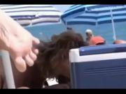 Wife sucking BBC in public beach