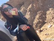 Asian girl bj, fucked outdoor and cum in mouth