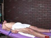 Mean massage from blonde MILF