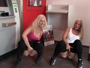 Dirty German girls pissing in a bank