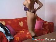 Blonde MILF rubbing tits and pussy on webcam