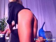 Beautiful blonde teen girl masturbates behind her webcam