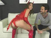 Petite Hot Devil Teen Brunette Fucked By Tattooed Latin