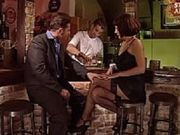 Sexy milf in black stockings fucked in a bar Part 1