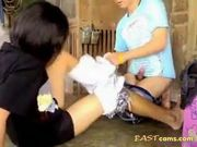 Asian couple fucking on the floor 2