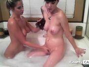 Hot lesbos do a bubblebath webcam show 4