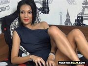 Sexy brunette babe on webcam stripteasing and playing with her big tits 2