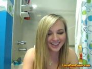 Blonde teen gets naked in the bath 2