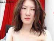 Pale Asian girl fingers her hairy pussy on cam