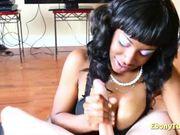 Busty black slut POV pleasing cock