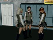 Lesbian fun on a school hallway