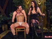 Busty femdom pegs her horny slave