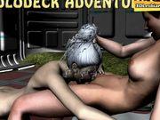 Lesbians having sex on a spaceship in garden