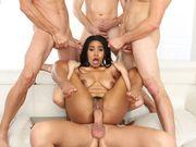 Ebony babe Jenna Foxx having an orgy massage fuck