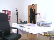 Fake lesbian female agent lick pussy on cast