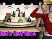 Her first lesbian sex in a club