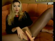 blonde whore in pantyhose with cut hole