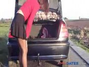 Hot slut inserts huge object near her car