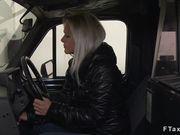 Repairman bangs blonde female cab driver