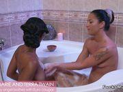 Busty ebony baths with European Milf