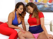 Mia teaching Ivy how to finger pussy