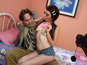 Naughty Kat asslicking her stepdad