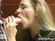 Innocent looking MILF gets an oral creampie