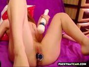 Blonde Cam Girl Hitachi Glass Dildo Orgasm 4:00