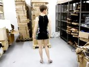 Polish redhead MILF undresses at work and suck dick
