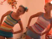 Super tight teen girls stripshow workout
