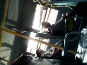 Cum tribute in public bus