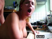 Hot Russian girl fuck at kitchen