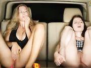 Stella Cardo & Friend in Car pussy rub