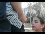 Latina teen sucking cock in public