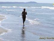 Running naked on the beach