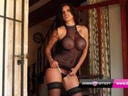 UK Pornstar Candy Sexton Fishnet Bodystocking Stripteas