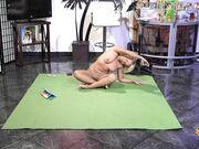 Naked Yoga on green mat 2
