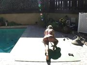 Naked Yoga on green mat 3