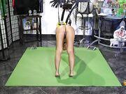 Naked Yoga on green mat 4