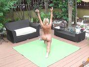 Naked Yoga on green mat 5