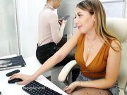 Secretary fingering herself at work