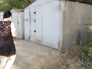 piss standing near the garage and a large stream boyfri