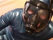 danielle's latex slave masturbation in latex gas mask